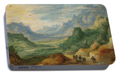 A Mountainous Landscape With Travellers And Herdsmen On A Path Portable Battery Charger by Jan Brueghel and Joos de Momper