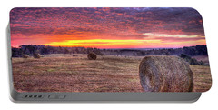 Portable Battery Charger featuring the photograph Before A New Day Georgia Hayfield Sunrise Art by Reid Callaway