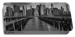 A New York City Day Begins Bw Portable Battery Charger