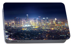 A Night In Los Angeles Portable Battery Charger by Mark Andrew Thomas