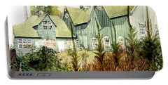 Watercolor Of An Old Wooden Barn Painted Green With Silo In The Sun Portable Battery Charger