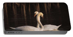 A Painting Of A Pair Of Mute Swans Portable Battery Charger