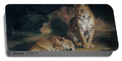 A Pair Of Leopards Portable Battery Charger by William Huggins
