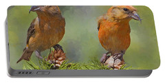 A Pair Of Male Red Crossbills - Painted Portable Battery Charger
