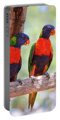 A Pair Of Rainbow Lorikeets On A Branch Portable Battery Charger