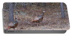 A Pair Of Turkeys 1152 Portable Battery Charger by Michael Peychich