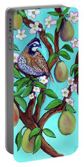Portable Battery Charger featuring the painting A Partridge In A  Blooming Pear Tree by Ecinja Art Works