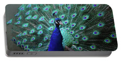 A Peacock With His Feather's Expanded Portable Battery Charger by DejaVu Designs