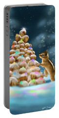 Portable Battery Charger featuring the painting A Perfect Christmas Tree by Veronica Minozzi
