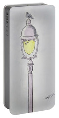 A Pigeon Sat Upon A Lamp Not Trying To Reflect Upon Existence Portable Battery Charger