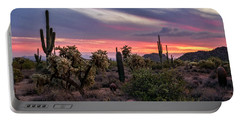 Portable Battery Charger featuring the photograph A Pink Kissed Desert Sunset  by Saija Lehtonen