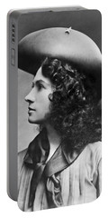 A Profile Portrait Of Sharpshooter Annie Oakley Portable Battery Charger