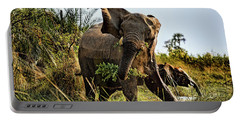 A Protective Mama Elephant With Calf  Portable Battery Charger