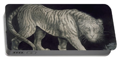 A Prowling Tiger Portable Battery Charger by Elizabeth Pringle