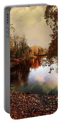 a quiet evening in a city Park painted in bright colors of autumn Portable Battery Charger