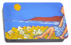 Portable Battery Charger featuring the painting A Quiet Place by Winsome Gunning