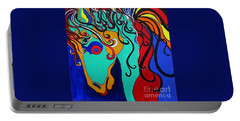 Portable Battery Charger featuring the painting A Rainbow Called Romeo by Alison Caltrider