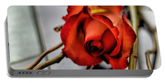 Portable Battery Charger featuring the photograph A Rose On Bamboo by Diana Mary Sharpton