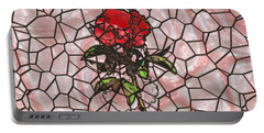 A Rose On Stained Glass Portable Battery Charger by John M Bailey