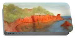 A Small Inlet Bay With Red Orange Rocks Portable Battery Charger