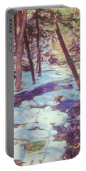 A Small Stream Meandering Through Winter Landscape. Portable Battery Charger