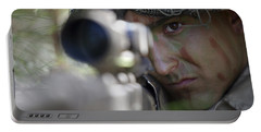 A Sniper Sights In On A Target Portable Battery Charger