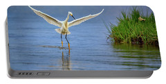 A Snowy Egret Dip-fishing Portable Battery Charger by Rick Berk