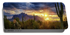 Portable Battery Charger featuring the photograph A Sonoran Desert Sunrise - Square by Saija Lehtonen