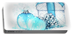 Portable Battery Charger featuring the painting A Sparkly Blue Christmas by Heidi Kriel