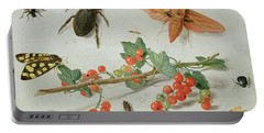 A Sprig Of Redcurrants With An Elephant Hawk Moth, A Magpie Moth And Other Insects, 1657 Portable Battery Charger