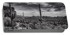 Portable Battery Charger featuring the photograph A Morning Hike In The Superstition In Black And White  by Saija Lehtonen