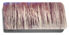 A Stand Of White Birch Trees In Winter. Portable Battery Charger