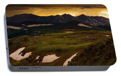 Portable Battery Charger featuring the photograph A Stormy Alpine Sunset by John De Bord
