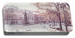 Portable Battery Charger featuring the photograph A Street In Warsaw, Poland On A Snowy Day by Juli Scalzi
