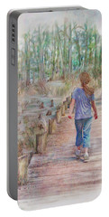 A Strole On The Boardwalk Portable Battery Charger by Bonnie Willis