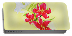 Portable Battery Charger featuring the painting A Study Of Lilies by Dorothy Darden