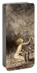 A Sudden Swarm Of Winged Creatures Brushed Past Her Portable Battery Charger by Arthur Rackham