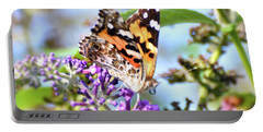 Portable Battery Charger featuring the photograph A Summer Lady - Painted Lady Butterfly by Kerri Farley