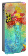 Portable Battery Charger featuring the digital art A Summer Time Bouquet by Diane Schuster