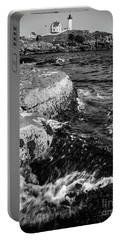 Portable Battery Charger featuring the photograph A Summer's Day At Nubble Light, York, Maine  -67969-bw by John Bald