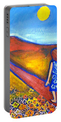 Portable Battery Charger featuring the painting A Sunny Path by Winsome Gunning