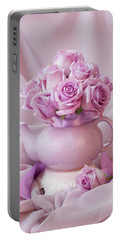 A Tea Pot Of Lavender Pink Roses  Portable Battery Charger