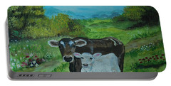 Portable Battery Charger featuring the painting A Tender Love by Leslie Allen