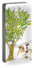A Texas Welcome Texas Longhorn Under A Live Oak Tree Watercolor Painting By Kmcelwaine Portable Battery Charger