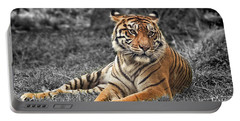 A Tiger Relaxing On A Cool Afternoon II Portable Battery Charger by Jim Fitzpatrick