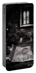 Portable Battery Charger featuring the photograph A Tombstone In Sligo Abbey Bw by RicardMN Photography