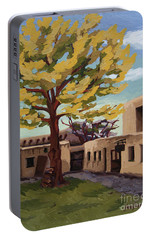 Portable Battery Charger featuring the painting A Tree Grows In The Courtyard, Palace Of The Governors, Santa Fe, Nm by Erin Fickert-Rowland