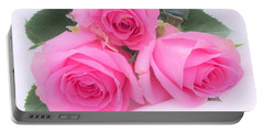 A Trinity Of Pink Roses Portable Battery Charger