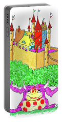 A Troll And Her Castle Portable Battery Charger by Debra Baldwin
