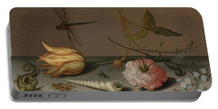 A Tulip, A Carnation, Spray Of Forget-me-nots, With A Shell, A Lizard And A Grasshopper, On A Ledge Portable Battery Charger